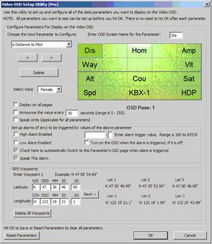 Konfigurační nástroj OSD EagleTree