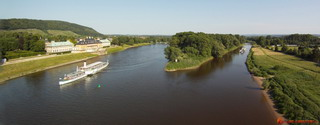 Panorama view of Elbe and Castle Pilnitz